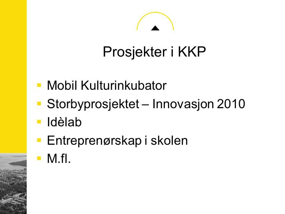 Prosjekter i KKP  Mobil Kulturinkubator  Storbyprosjektet – Innovasjon 2010  Idèlab  Entreprenørskap i skolen  M.fl.