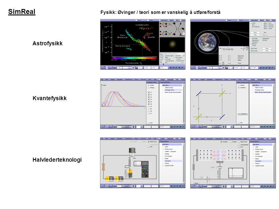 Astrofysikk Fysikk: Øvinger / teori som er vanskelig å utføre/forstå Kvantefysikk Halvlederteknologi