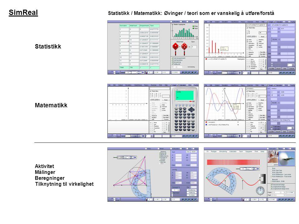 SimReal Statistikk Statistikk / Matematikk: Øvinger / teori som er vanskelig å utføre/forstå Matematikk Aktivitet Målinger Beregninger Tilknytning til virkelighet