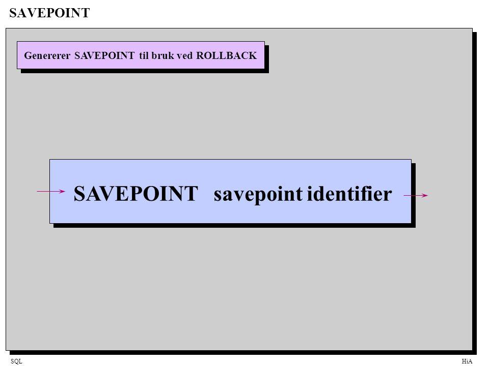 SQLHiA SAVEPOINT Genererer SAVEPOINT til bruk ved ROLLBACK SAVEPOINT savepoint identifier