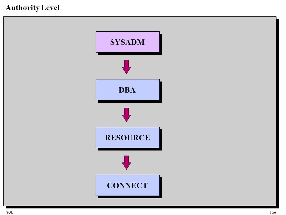 SQLHiA Authority Level SYSADM DBA RESOURCE CONNECT