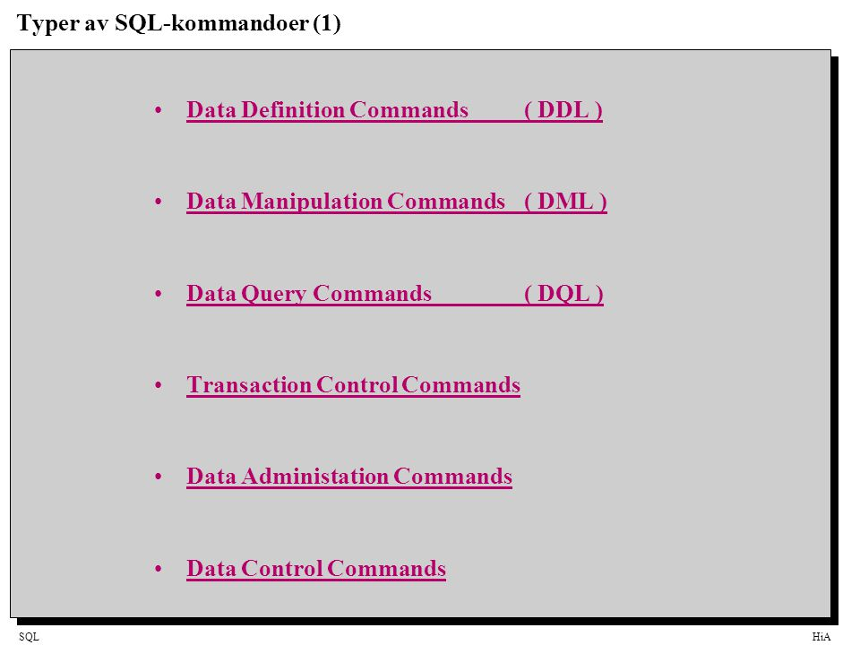 SQLHiA Typer av SQL-kommandoer (1) Data Definition Commands ( DDL ) Data Manipulation Commands( DML ) Data Query Commands ( DQL ) Transaction Control Commands Data Administation Commands Data Control Commands