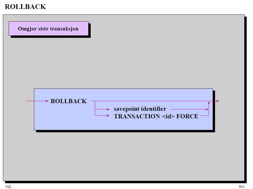 SQLHiA ROLLBACK Omgjør siste transaksjon ROLLBACK savepoint identifier TRANSACTION FORCE