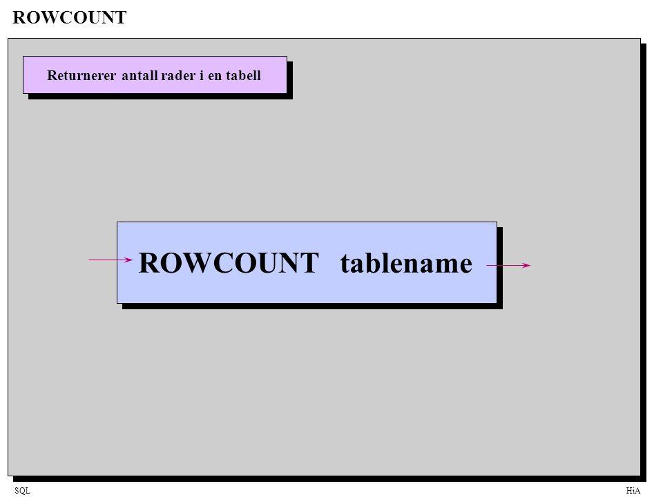 SQLHiA ROWCOUNT Returnerer antall rader i en tabell ROWCOUNT tablename