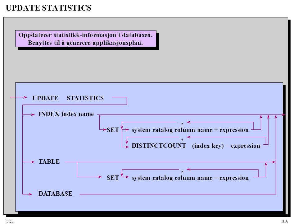 SQLHiA UPDATE STATISTICS Oppdaterer statistikk-informasjon i databasen. Benyttes til å generere applikasjonsplan. Oppdaterer statistikk-informasjon i