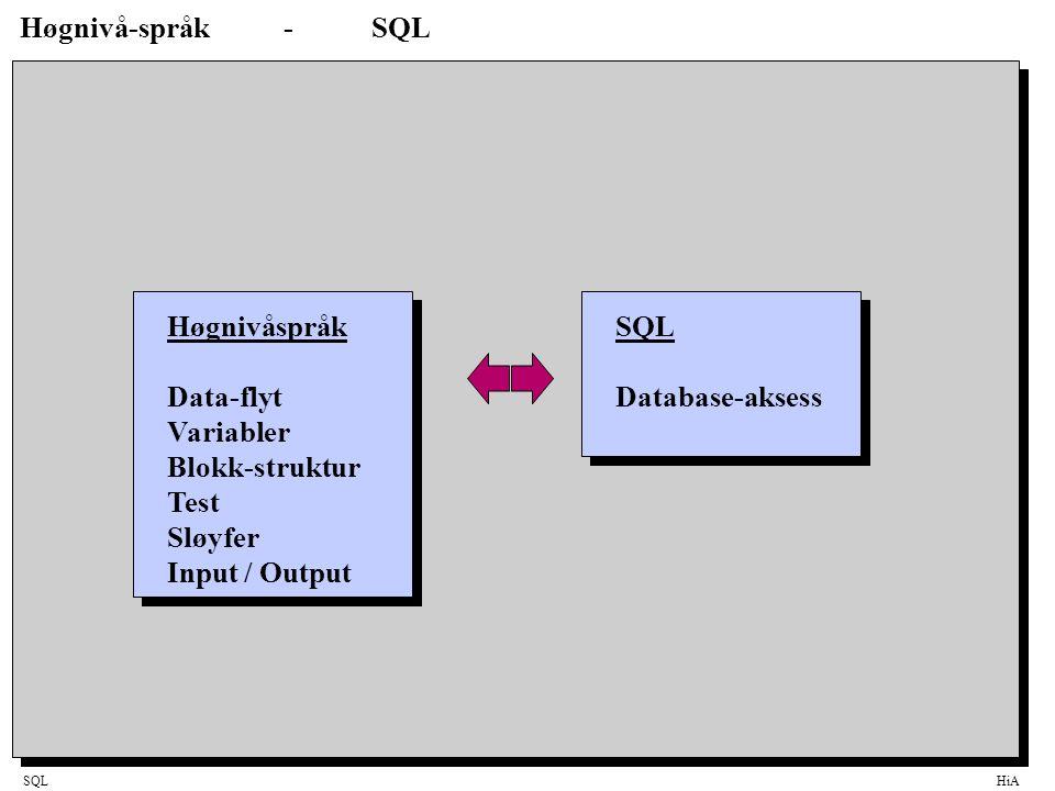 SQLHiA Høgnivå-språk-SQL Høgnivåspråk Data-flyt Variabler Blokk-struktur Test Sløyfer Input / Output SQL Database-aksess