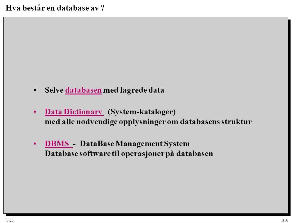 SQLHiA SQL-Et større eksempel(2) SELECT StlngMax.StRang, StlngMax.Periode, COUNT(*), @ROUND(AVG(Ektekskap.EVarighet),1) FROM StlngMax, Ekteskap WHERE StlngMax.PersonID = Ekteskap.MannID AND Ekteskap.ENrMann = 1 AND GROUP BY StlngMax.StRang, StlngMax.Periode List ut for hver stilling og tidsperiode gjennomsnittlig ekteskapsvariget (1.