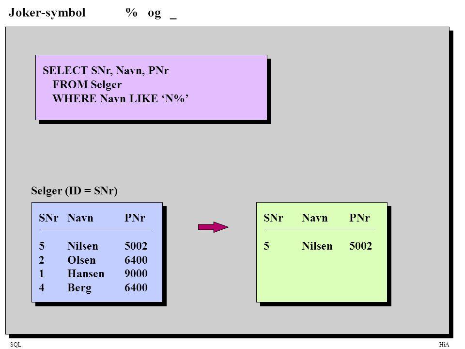 SQLHiA Joker-symbol% og _ SELECT SNr, Navn, PNr FROM Selger WHERE Navn LIKE 'N%' SNrNavnPNr 5Nilsen5002 SNrNavnPNr 5Nilsen5002 2Olsen6400 1Hansen9000