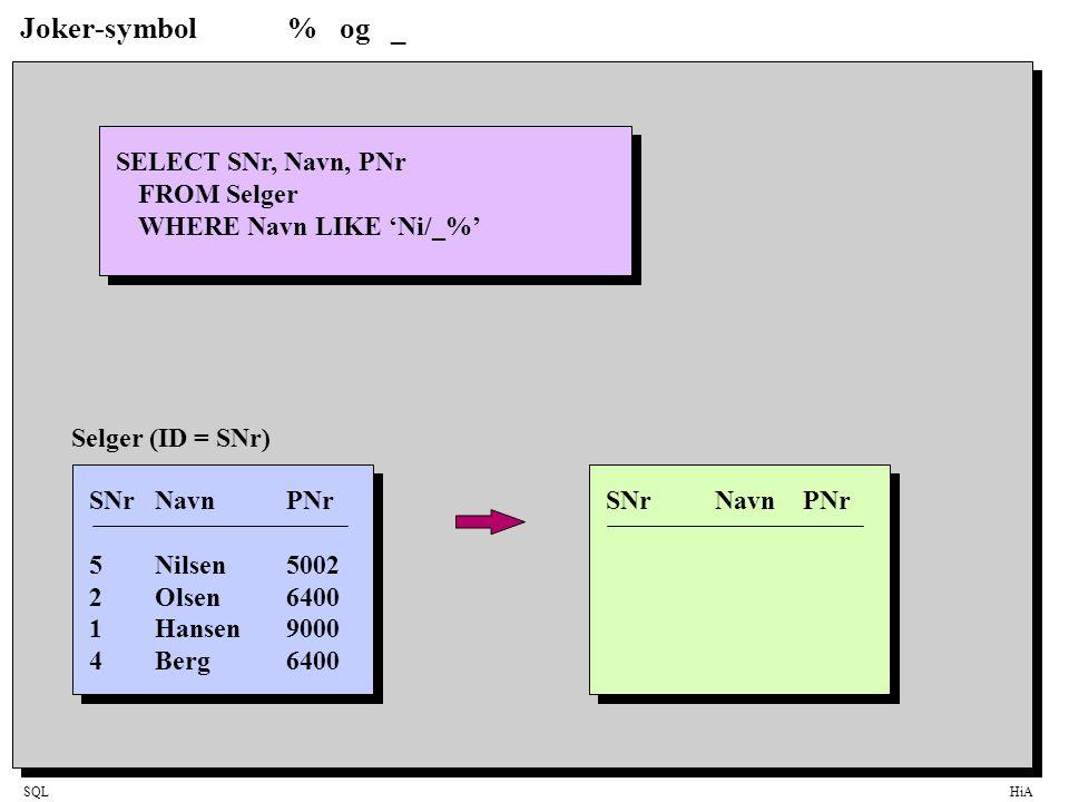 SQLHiA Joker-symbol% og _ SELECT SNr, Navn, PNr FROM Selger WHERE Navn LIKE 'Ni/_%' SNrNavnPNr 5Nilsen5002 2Olsen6400 1Hansen9000 4Berg6400 Selger (ID