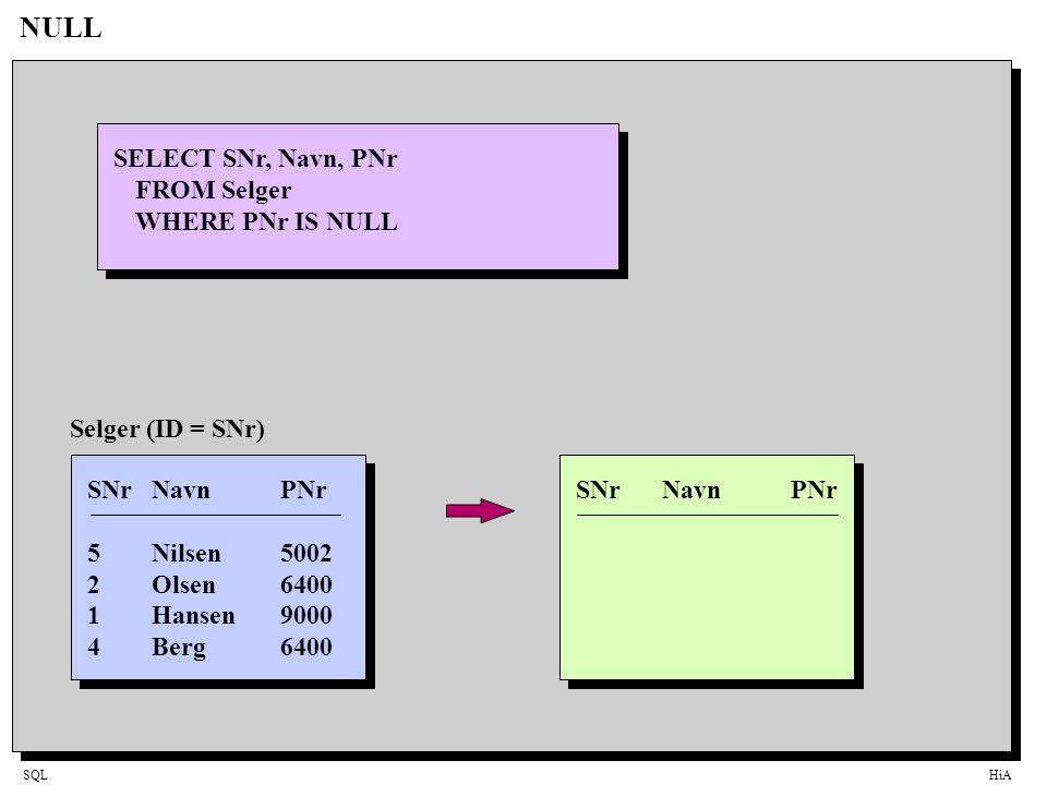 SQLHiA NULL SELECT SNr, Navn, PNr FROM Selger WHERE PNr IS NULL SNrNavnPNr 5Nilsen5002 2Olsen6400 1Hansen9000 4Berg6400 Selger (ID = SNr)