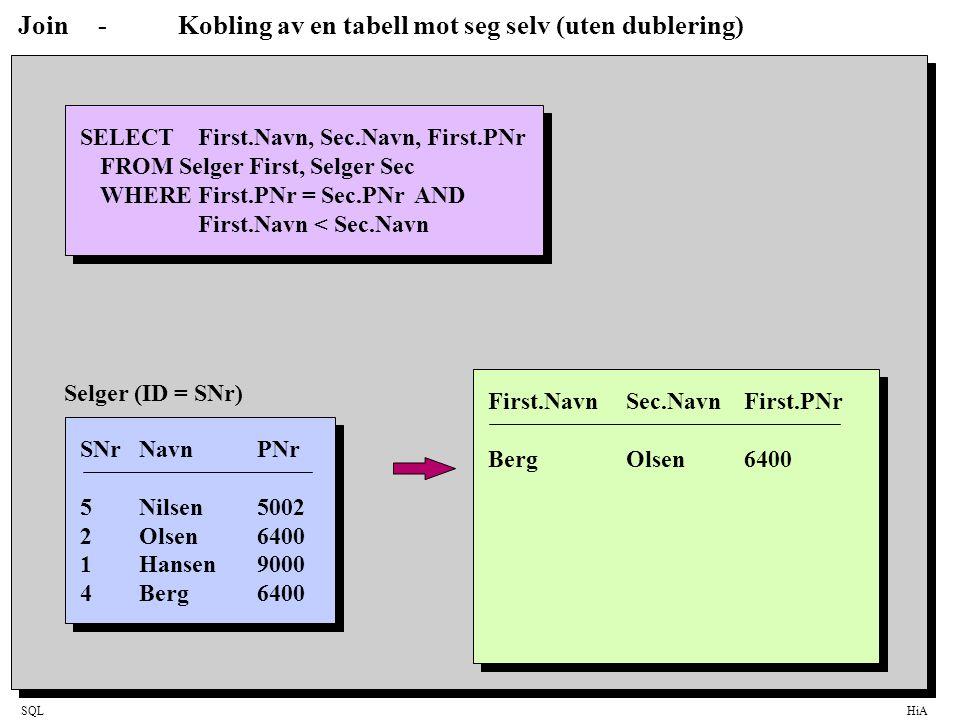 SQLHiA Join-Kobling av en tabell mot seg selv (uten dublering) SELECT First.Navn, Sec.Navn, First.PNr FROM Selger First, Selger Sec WHERE First.PNr =