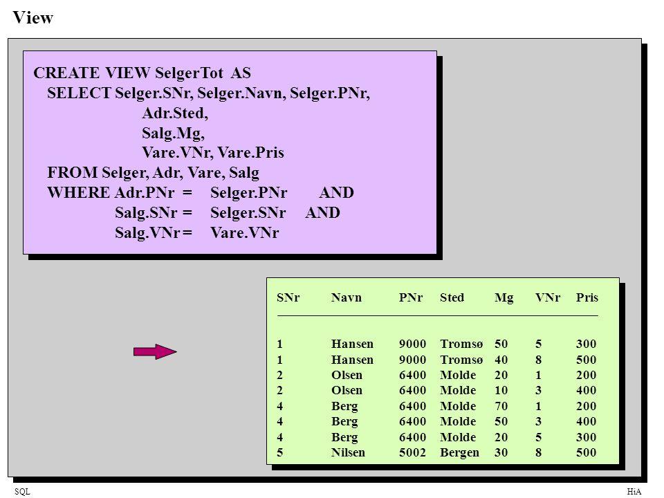 SQLHiA View CREATE VIEW SelgerTot AS SELECTSelger.SNr, Selger.Navn, Selger.PNr, Adr.Sted, Salg.Mg, Vare.VNr, Vare.Pris FROM Selger, Adr, Vare, Salg WH
