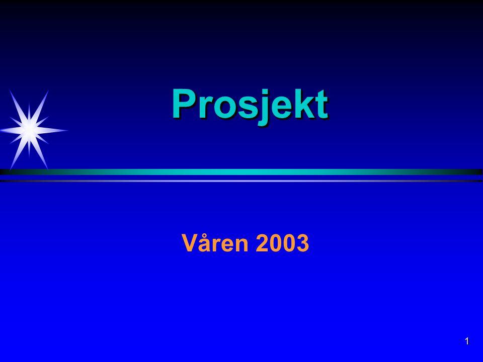 1 ProsjektProsjekt Våren 2003