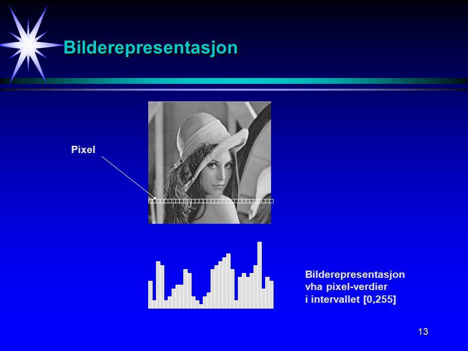 13 BilderepresentasjonBilderepresentasjon Pixel Bilderepresentasjon vha pixel-verdier i intervallet [0,255]