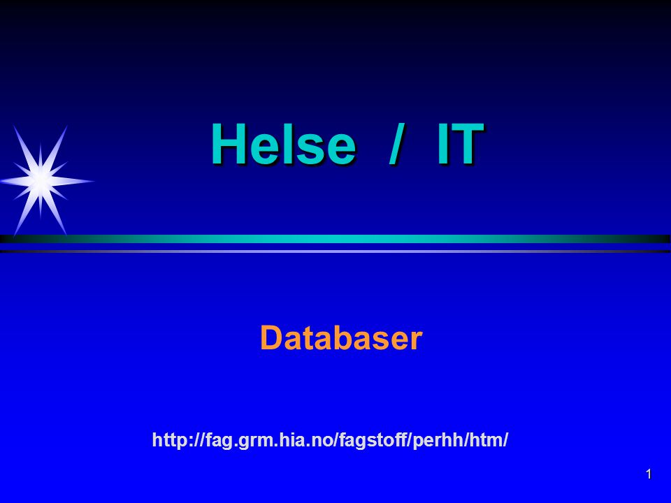 1 Helse / IT Databaser http://fag.grm.hia.no/fagstoff/perhh/htm/