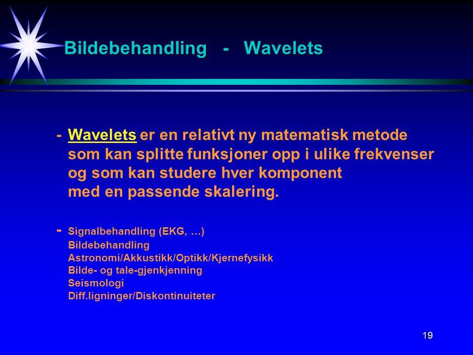 19 Bildebehandling - Wavelets -Wavelets er en relativt ny matematisk metode som kan splitte funksjoner opp i ulike frekvenser og som kan studere hver