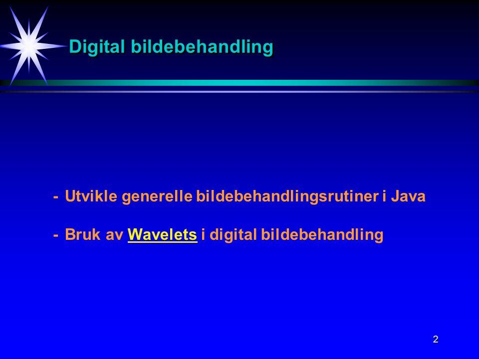 2 Digital bildebehandling -Utvikle generelle bildebehandlingsrutiner i Java -Bruk av Wavelets i digital bildebehandling