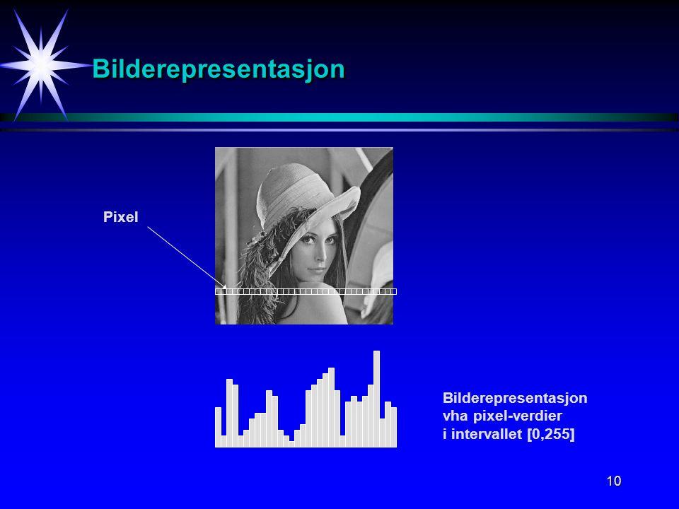 10 BilderepresentasjonBilderepresentasjon Pixel Bilderepresentasjon vha pixel-verdier i intervallet [0,255]