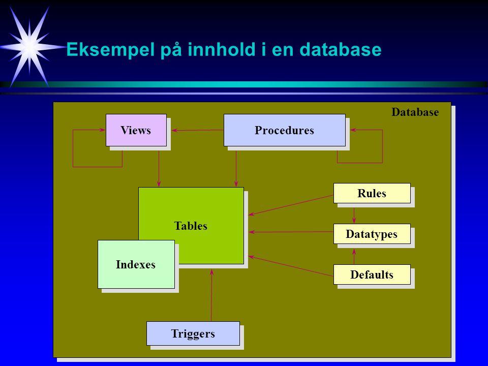 Eksempel på innhold i en database Tables Indexes Triggers Views Procedures Rules Datatypes Defaults Database