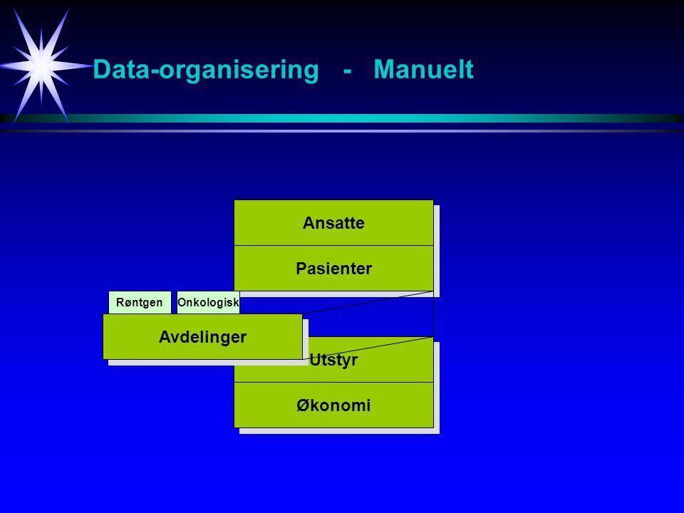 Data-organisering - Manuelt Ansatte Pasienter Utstyr Økonomi Avdelinger RøntgenOnkologisk Total
