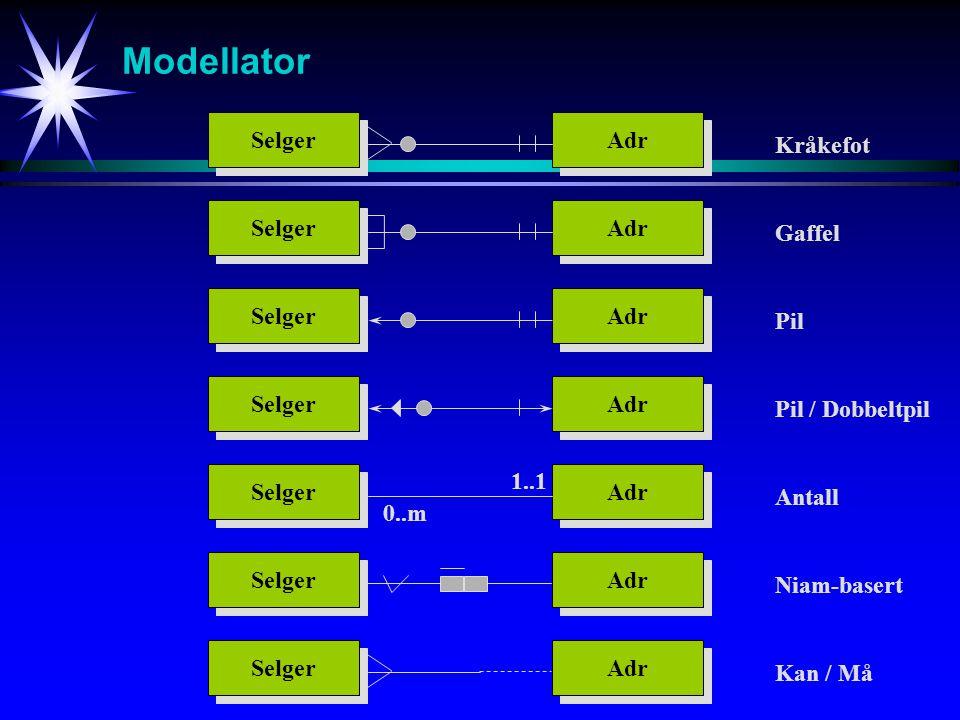 Modellator Selger Adr Kråkefot Selger Adr Gaffel Selger Adr Pil Selger Adr Pil / Dobbeltpil Selger Adr Antall Selger Adr Niam-basert Selger Adr Kan / Må 0..m 1..1
