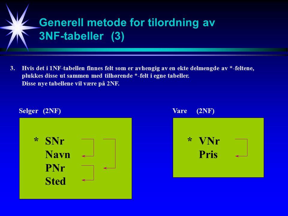 Generell metode for tilordning av 3NF-tabeller(3) 3.Hvis det i 1NF-tabellen finnes felt som er avhengig av en ekte delmengde av *-feltene, plukkes disse ut sammen med tilhørende *-felt i egne tabeller.