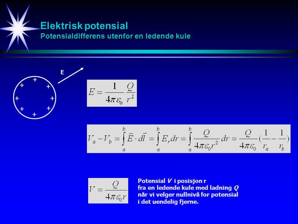 + + + + + + + + Elektrisk potensial Potensialdifferens utenfor en ledende kule E Potensial V i posisjon r fra en ledende kule med ladning Q når vi vel