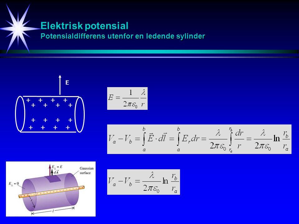 Elektrisk potensial Potensialdifferens utenfor en ledende sylinder ++++ E ++++ ++++ ++++