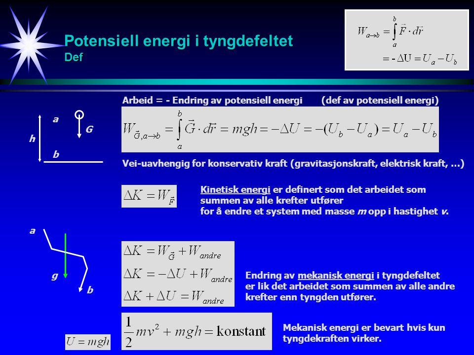 Potensiell energi i tyngdefeltet Def Arbeid = - Endring av potensiell energi (def av potensiell energi) g a b Endring av mekanisk energi i tyngdefelte