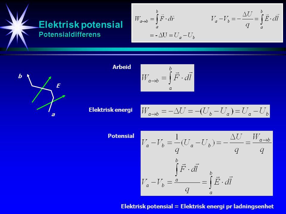 Elektrisk potensial Potensialdifferens Arbeid Elektrisk energi Potensial E a b Elektrisk potensial = Elektrisk energi pr ladningsenhet