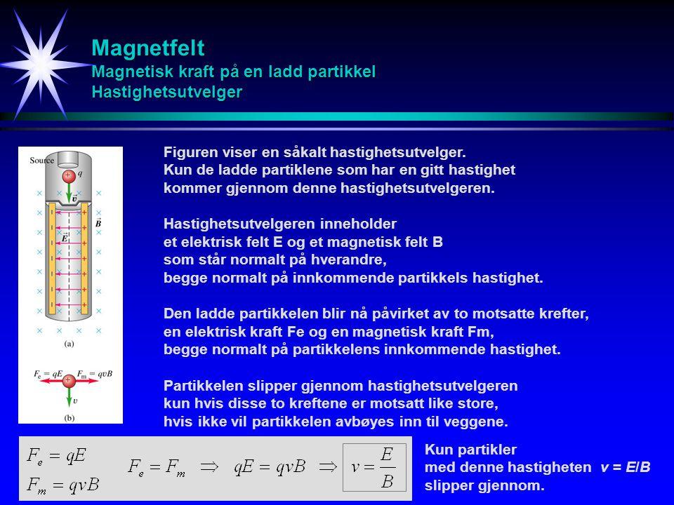 Magnetfelt Magnetisk kraft på en ladd partikkel Hastighetsutvelger Figuren viser en såkalt hastighetsutvelger. Kun de ladde partiklene som har en gitt
