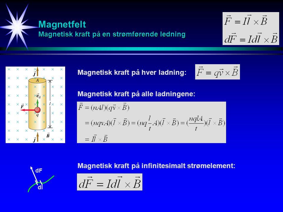 Magnetfelt Magnetisk kraft på en strømførende ledning Magnetisk kraft på hver ladning: Magnetisk kraft på alle ladningene: dl dF Magnetisk kraft på in