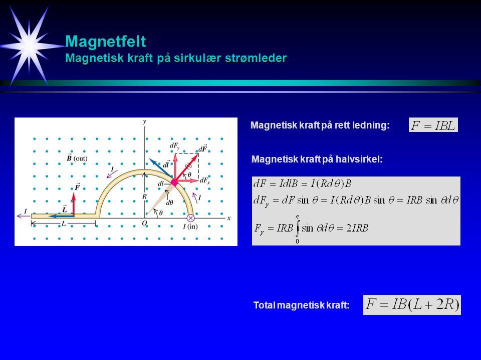Magnetfelt Magnetisk kraft på sirkulær strømleder Magnetisk kraft på rett ledning: Magnetisk kraft på halvsirkel: Total magnetisk kraft: