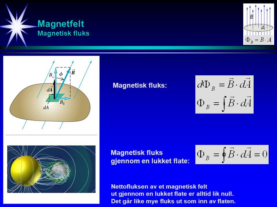 Magnetfelt Magnetisk fluks Magnetisk fluks: Magnetisk fluks gjennom en lukket flate: B Nettofluksen av et magnetisk felt ut gjennom en lukket flate er