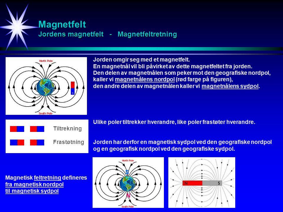 Magnetfelt Jordens magnetfelt - Magnetfeltretning Jorden omgir seg med et magnetfelt. En magnetnål vil bli påvirket av dette magnetfeltet fra jorden.