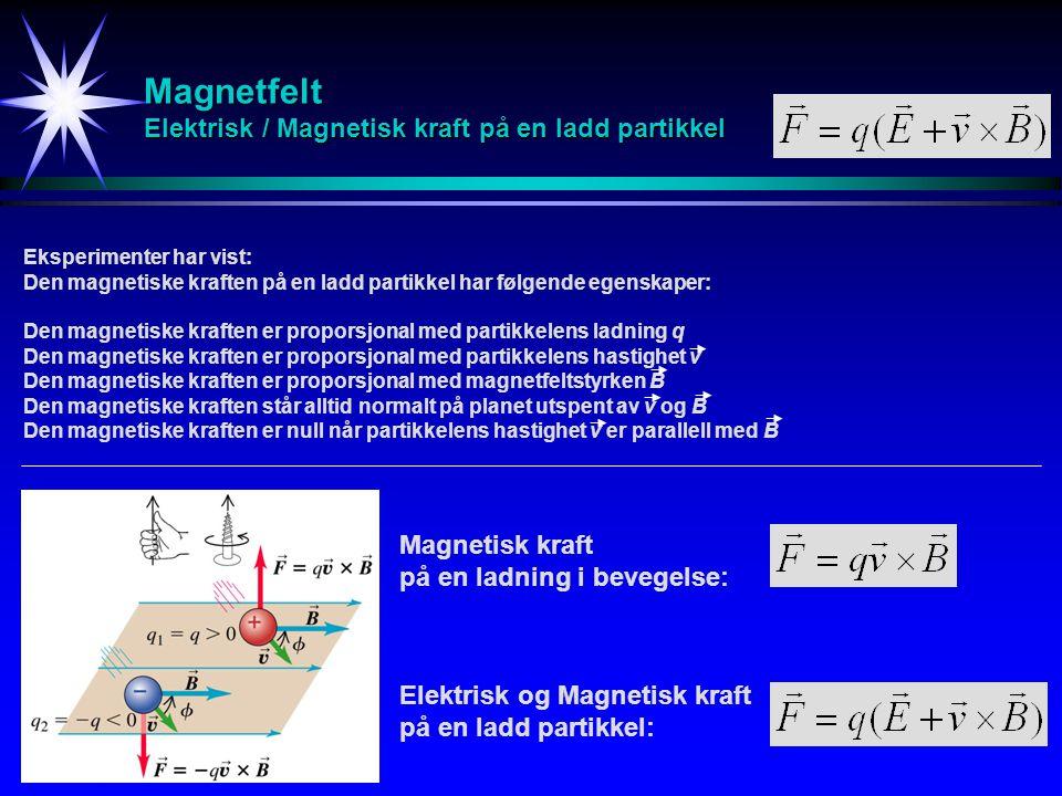 Magnetfelt Elektrisk / Magnetisk kraft på en ladd partikkel Magnetisk kraft på en ladning i bevegelse: Elektrisk og Magnetisk kraft på en ladd partikk
