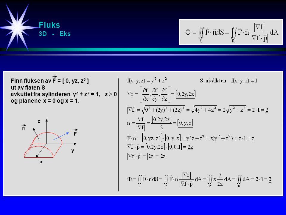 Fluks 3D - Eks Finn fluksen av F = [ 0, yz, z 2 ] ut av flaten S avkuttet fra sylinderen y 2 + z 2 = 1, z  0 og planene x = 0 og x = 1. y x z n F