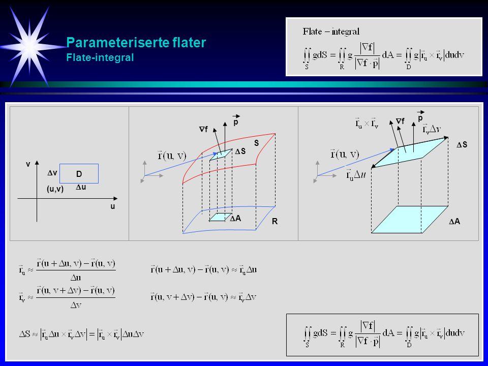 Parameteriserte flater Flate-integral S AA p ff SS AA p SS u v (u,v) uu vv D R ff