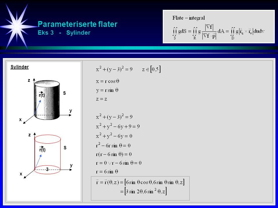 Parameteriserte flater Eks 3 - Sylinder Sylinder x z y r(t) S x z y S 3