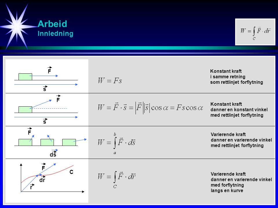 Arbeid Innledning F s F s F ds F r dr C Konstant kraft i samme retning som rettlinjet forflytning Konstant kraft danner en konstant vinkel med rettlin