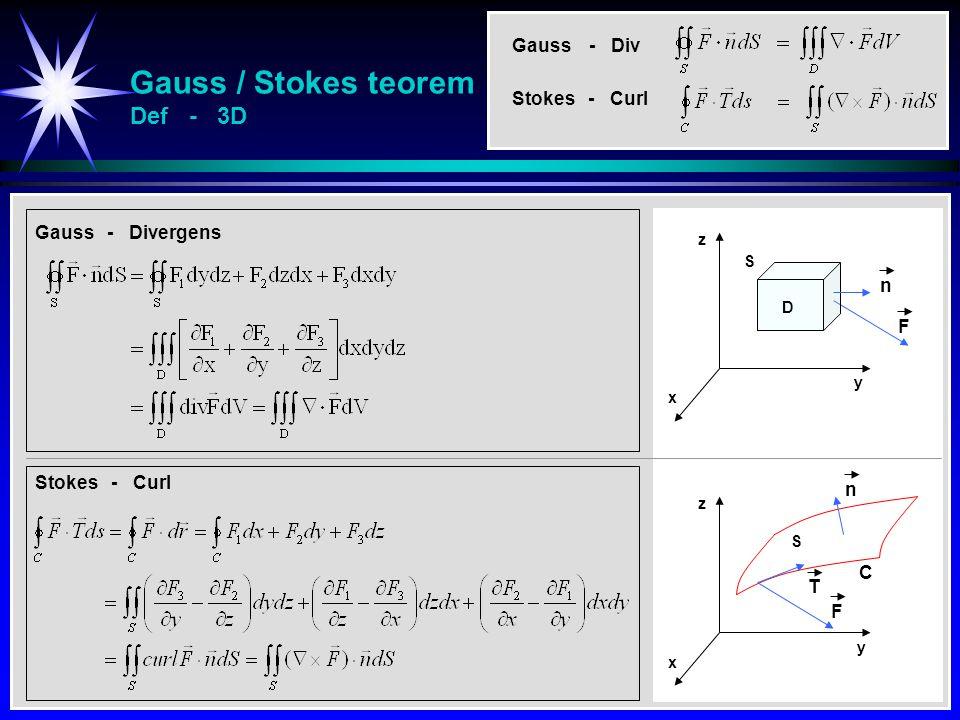 Gauss / Stokes teorem Def - 3D Gauss - Divergens Stokes - Curl y x z S C T F y x z S n F D n Gauss - Div Stokes - Curl