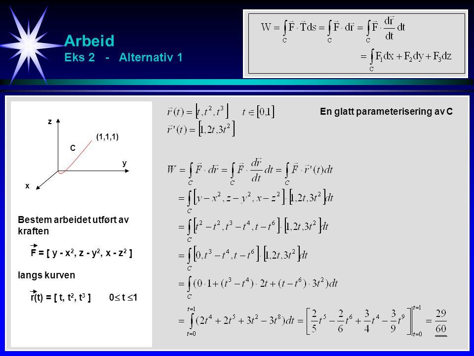 Arbeid Eks 2 - Alternativ 1 x y z C Bestem arbeidet utført av kraften F = [ y - x 2, z - y 2, x - z 2 ] langs kurven r(t) = [ t, t 2, t 3 ] 0  t  1
