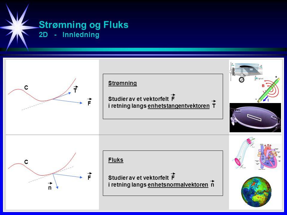 Strømning og Fluks 2D - Innledning F T Studier av et vektorfelt F i retning langs enhetstangentvektoren T Strømning n C Studier av et vektorfelt F i r