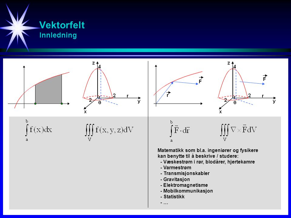 Flate-integral Areal - Def S beskrevet av nivåflaten f(x,y,z) = c Planområdet R er projeksjonen av S (på figuren projeksjonen ned i xy-planet) p enhetsnormalvektor på planområdet R Arealet av S er gitt ved: y x z S R p ff