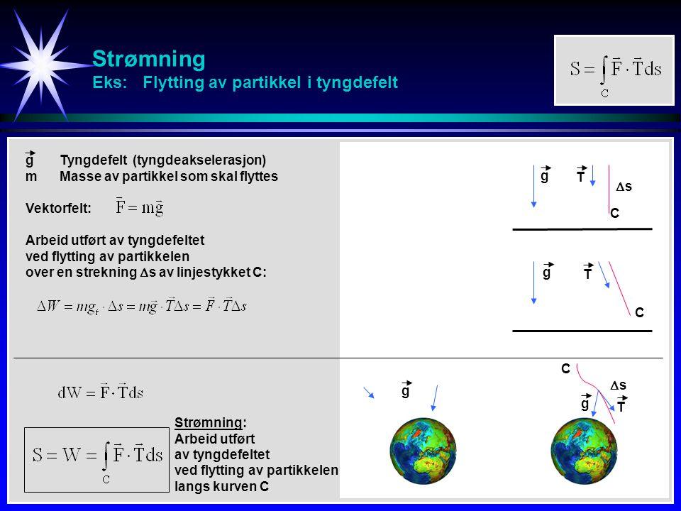Strømning Eks: Flytting av partikkel i tyngdefelt ss g gTyngdefelt (tyngdeakselerasjon) mMasse av partikkel som skal flyttes Arbeid utført av tyngde