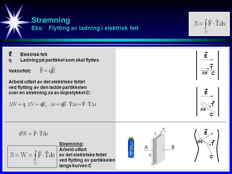 Strømning Eks: Flytting av ladning i elektrisk felt ss E EElektrisk felt qLadning på partikkel som skal flyttes Arbeid utført av det elektriske felt