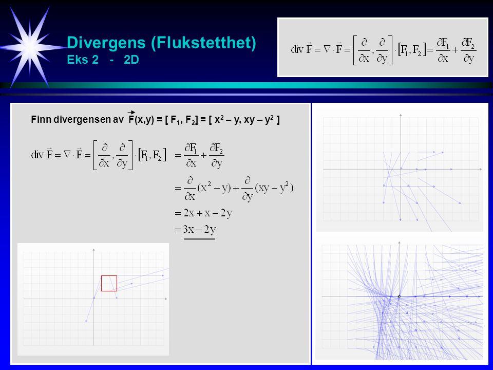 Divergens (Flukstetthet) Eks 2 - 2D Finn divergensen av F(x,y) = [ F 1, F 2 ] = [ x 2 – y, xy – y 2 ]