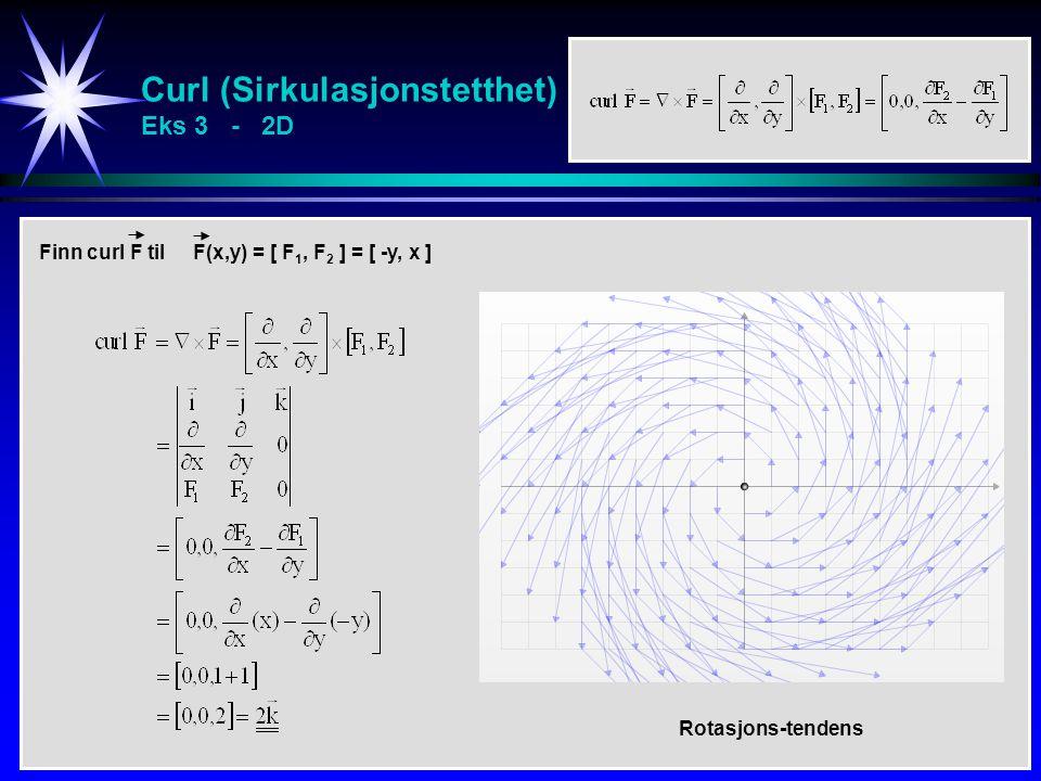 Curl (Sirkulasjonstetthet) Eks 3 - 2D Finn k-komponenten av curl til F(x,y) = [ M, N] = [ x 2 – y, xy – y 2 ] Finn curl F til F(x,y) = [ F 1, F 2 ] =