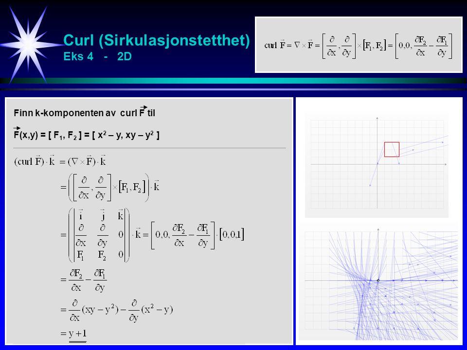 Curl (Sirkulasjonstetthet) Eks 4 - 2D Finn k-komponenten av curl F til F(x,y) = [ F 1, F 2 ] = [ x 2 – y, xy – y 2 ]