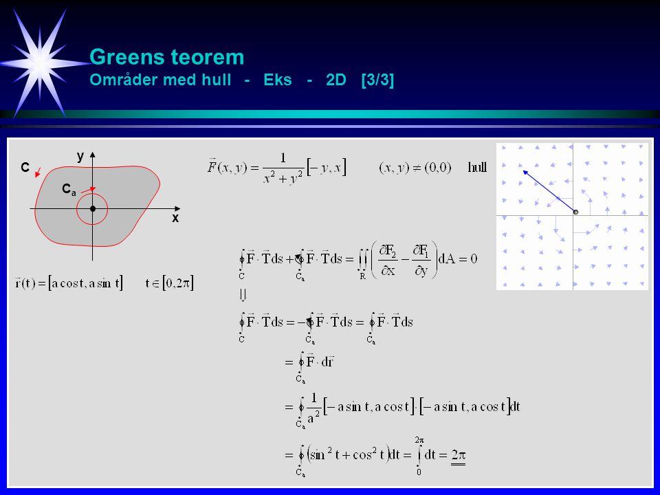 Greens teorem Områder med hull - Eks - 2D [3/3] x y C CaCa
